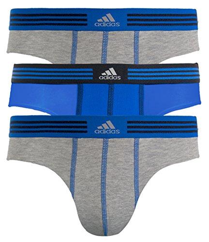 Underwear Traditional Brief (adidas Men's Athletic Stretch Brief Underwear, Heather Grey/Bold Blue, Small/Waist Size 28-30)