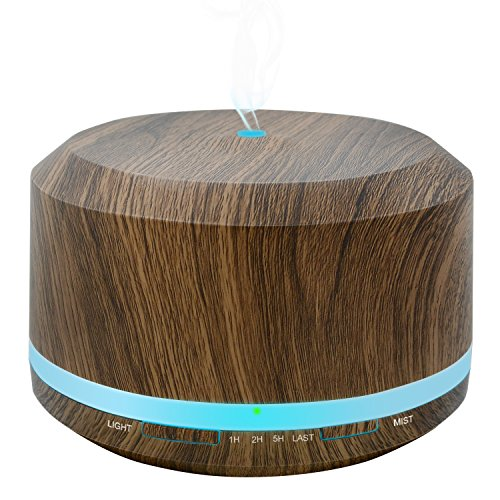 450ml Diffusers for Essential Oils, Wood Grain Aromatherapy Cool Mist Air Humidifier Diffuser with 8 Color LED Lights for Home Bedroom Office by Doukedge