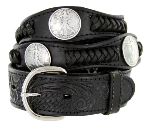 [Walking Liberty Memorial Coin Concho Western Embossed Leather Belt (38 Black)] (Concho Western Leather)