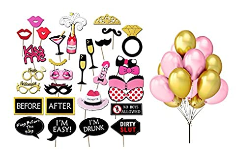 Bachelorette Party Photo Booth Props Kit,Party Lowkey Girls Night Out Games Bachelorette Party Decoration Dress Up Accessories for Wedding with Pink and Gold - Pink Party Accessories