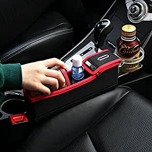 KMMOTORS Coin Side Pocket, Console Side Pocket, Car Organizer Red (Plywood Passenger's Seat Red)