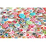 RayLineDo® One Pack of 50g Over 100pcs Buttons Mixed Colours of Various Plain Round DIY Buttons for Sewing and Crafting