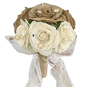 Faylapa 3 Rustic Wedding Bouquet Burlap Flowers Bouquets with Lace and Pearls+1 Cards Heart Shape Hessian Banner Bunting 3