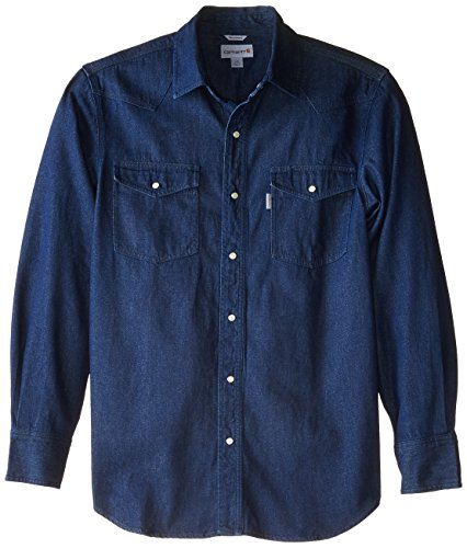 Carhartt Men's Big & Tall Ironwood Denim Work Shirt Snap Front Relaxed Fit,Tumbled Blue,X-Large Tall (Carhartt Snap Front Denim)