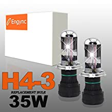 Engync® 35W H4 (HB2) (9003) Bi-Xenon Xenon HID Replacement Bulbs | HID Xenon Headlight Bulb Hi/Low Bright White with a hint of yellow Color (4300K)| 3 Years Warranty