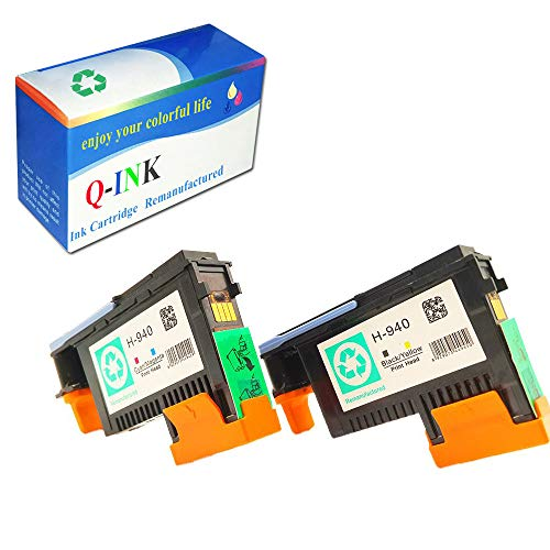 QINK 2 Pack for 940 Printhead BK/Y (C4900A) M/C (C4901A) for Officejet Pro 8000 8500 8500a 8500a Plus 8500a - Black Hp Printhead 8500a