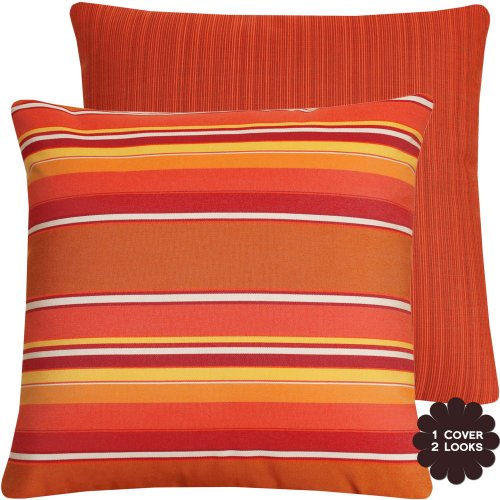 Chloe & Olive Sunset Boulevard Collection Textured Stripe Sunbrella Outdoor Pillow Cover, 20-Inch, Red
