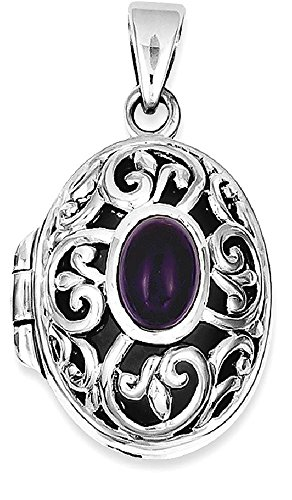 Amethyst Heart Locket (ICE CARATS 925 Sterling Silver Purple Amethyst Photo Pendant Charm Locket Chain Necklace That Holds Pictures Fine Jewelry Gift Set For Women Heart)