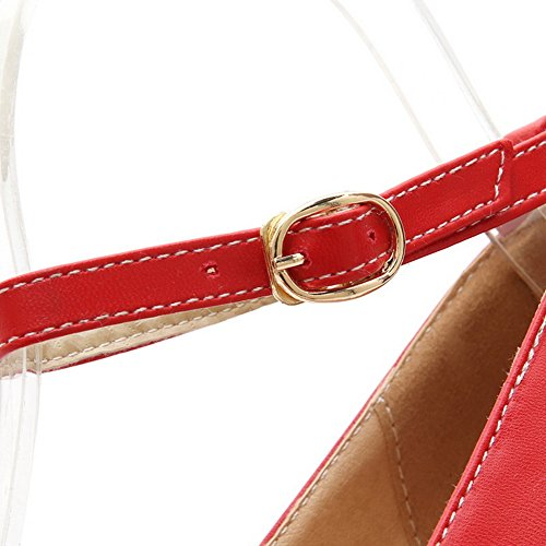 Balamasa Dames Chunky Talons Boucle Plate-forme Bout Rond Imité Cuir Pompes-chaussures Rouge