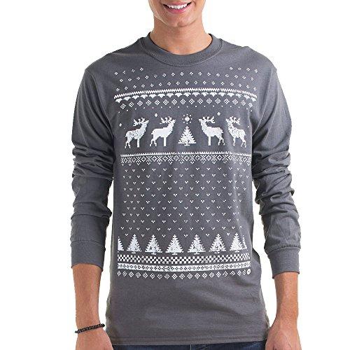 Herren Rentier Weihnachts-Langarmshirt - Aschgrau