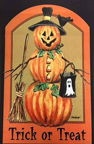 51groups Halloween Garden Flag 12'X18 I Happy Halloween Designer Flag I Trick or Treat Flag I Fall Decorative Flag I Weather Proof 2-Sided I Small Banner Size (Halloween Pumpkin Scarecrow) ()