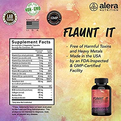 Hair Growth Vitamins - with Biotin, Keratin, and Bamboo Collagen | Best Supplement for Growing Stronger Thicker Hair, Nails, and Skin for Women and Men | 60 Count - by ALERA Nutrition