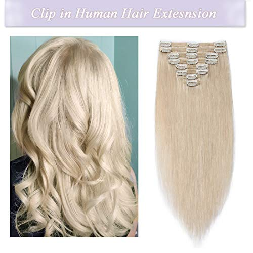 s-noilite Clip in Human Hair Extensions 100% Real Remy Thick True Double Weft Full Head 8 Pieces 18 clips Straight silky (18 inch - 140g,Platinum Blonde (#60))