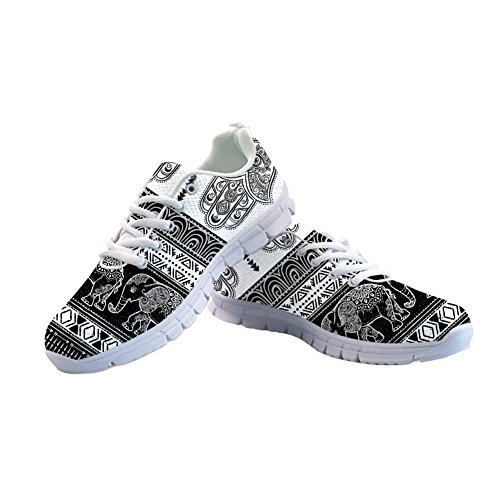 FOR U DESIGNS Tribal Pattern Black and White Stripe Women Shoes Cartoon Elephant Trail Athletic Sport Running Sneaker Size 42 ()