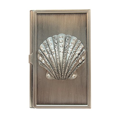 All For Giving Seashell Business Card Carrying Case, Pewter