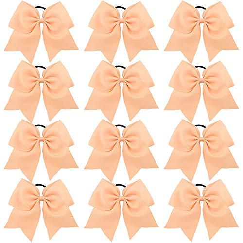 CHLONG Large Cheer Bows Girls Ponytail Holder Grosgrain Hair Bows Softball Dance Team Cheer Squad 12pcs (Peach) ()