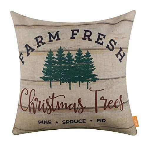 LINKWELL Throw Pillow Cover Farmhouse Merry Christmas Xmas Day Season Seasonal Gifts Burlap Decorative Cushion Cover 18x18 inches - Farm Fresh Christmas Tree CC1541