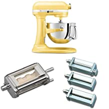 KitchenAid KP26M1XMY Professional 600 Series 6-Quart Bowl-Lift Stand Mixer, Majestic Yellow + KitchenAid KRAV Ravioli Maker Attachment for Stand Mixers + KitchenAid KPRA Pasta Roller & Cutter Set Bundle