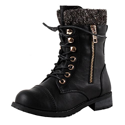 (JJF Shoes Mango-31 Kids Black Round Toe Military Lace Up Knit Ankle Cuff Low Heel Combat)