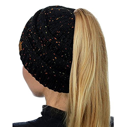 Women's Warm Cable Knitted Messy High Bun Hat Beanie With Hole For Pony Tail Skull Cap (Black 1)