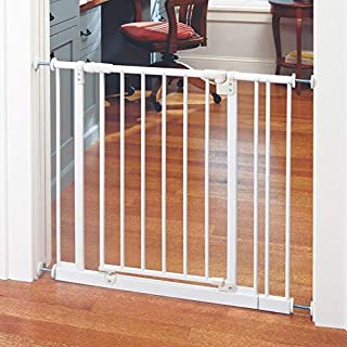 """Toddleroo by North States 38.5"""" Wide Easy Close Baby Gate: Sturdy Safety gate with one Hand Operation. Pressure Mount. Fits 28-38.5"""" Wide. (29"""" Tall, Soft White)"""