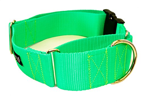 """UPC 647444240717, 2 Inch Martingale w/ Buckle Dog Collars - Heavy Duty Nylon ( 2"""" width dog collars Various Colors) (Neon Lime Green, XX-Large)"""