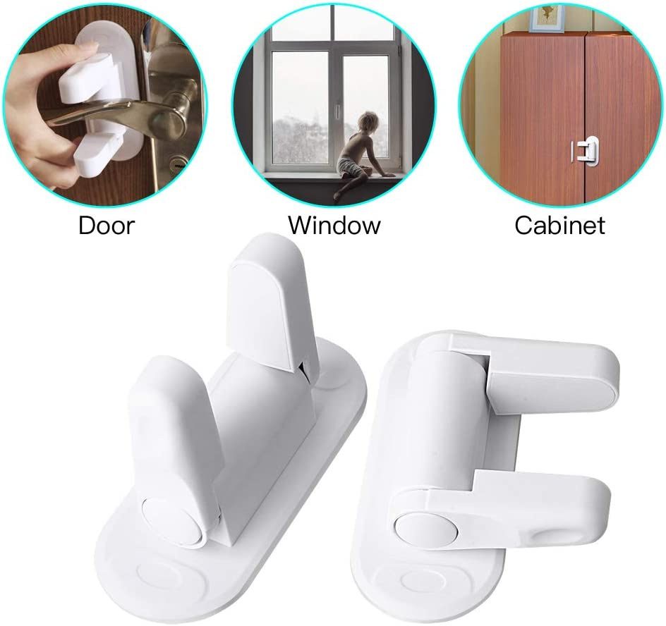 Child//Pet Lock Kids//Pet Safety XIWMIX 2 Pack Door Lever Lock Child//Pet Proof Doors /& Handles Child Safety Locks with 3M Adhesive
