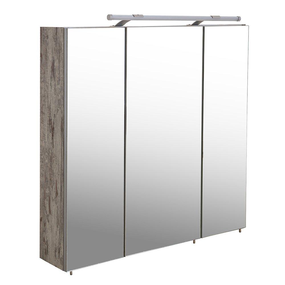 Spiegelschrank in Eiche Antik, mit 3 Spiegeltüren mit Alukanten, 1 ...