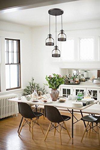 Truelite Industrial 3-Light Dining Room Pendant Rustic Oil-Rubbed Bronze Wire Cage Hanging Light Fixture