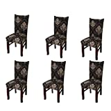 Jinshou 6PCS Dining Chair Cover Short Stretch Dining Room Slipcover Banquet Seat Protector 10#