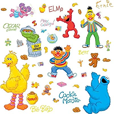 Lunarland SESAME STREET 45 BiG Wall Stickers ELMO BIG BIRD ABBY OSCAR Room Decor Decals: Kitchen & Dining