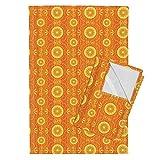 Orange Retro Stripe Funky Citrus Stripes Tea Towels Solar Blossoms by Robyriker Set of 2 Linen Cotton Tea Towels