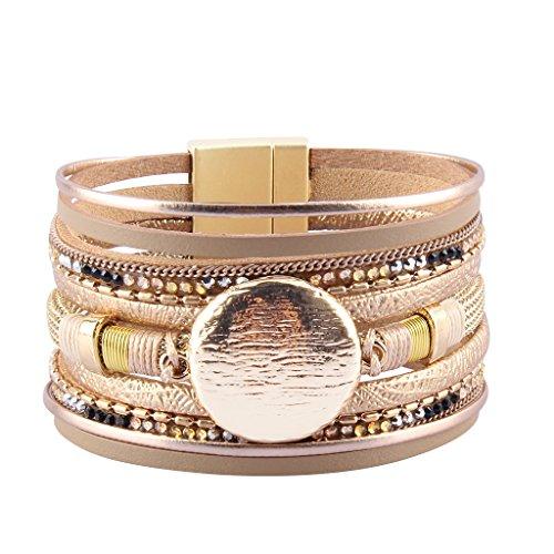 Jenia Women's Leather Wrap Bracelet Boho Bracelets Cuff Bangle Handmade Jewelry for Girls, Sister Gift by Jenia