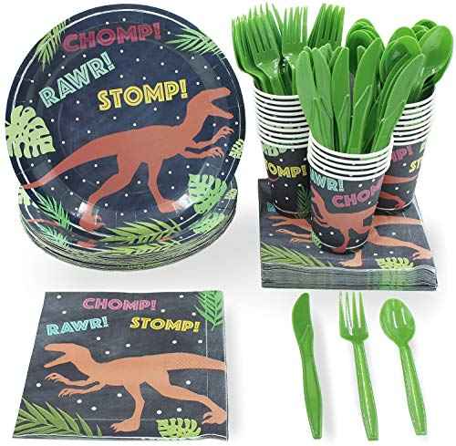 T Rex Party Supplies (Juvale Kids T-Rex Dinosaur Birthday Party Supplies - Includes Dino Plates, Knives, Spoons, Forks, Napkins, and Cups, Serves)