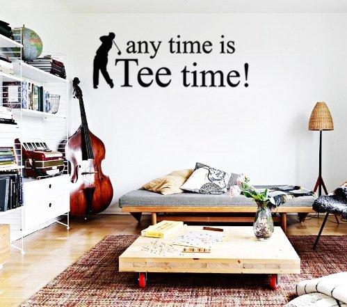 Dailinming PVC Wall Stickers English TIME golf tee club lounge for home decorationWallpaper34.3cm x 91.4cm-Matt (Accent Tee)