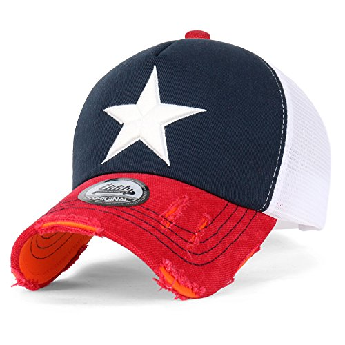 ililily Star Embroidery tri-Tone Trucker Hat Adjustable Cotton Baseball Cap (Medium, Navy/Red)