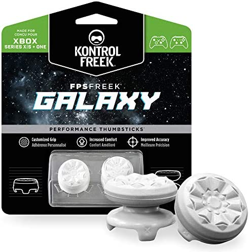 KontrolFreek FPS Freek Galaxy White for Xbox One and Xbox Series X Controller   Performance Thumbsticks   1 High-Rise, 1 Mid-Rise   White