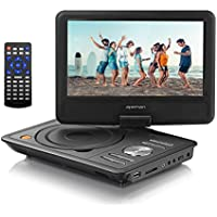 APEMAN 9.5 Portable DVD Player with Swivel Screen Built-in Rechargeable Battery SD Card and USB Supported Direct Play in Formats MP4/AVI/RMVB/MP3/JPEG (Black)