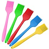 meat brush - Silicone Basting Pastry Oil Brush Set of 5, Tougs Silicone Baking Brush Utensils Spatula for Grilling, BBQ Meat, Barbecue, Cakes & Pastries - Heat Resistant, Dishwasher Safe, Food Grade - 5 Colors