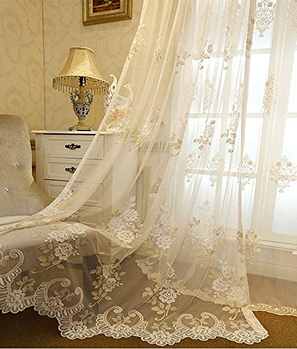 AliFish AiFish Romantic Embroidered Sheer Curtains Floral Tulle Gauze Curtains Rod Pocket Country Style Luxury Lace Voile Window Drape Panel Net Mesh Curtains for Living Room Beige 1 Piece/Panel