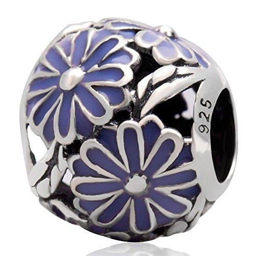 - Shengzu Beads Daisy Meadow European 925 Sterling Silver Purple Enamel Bead for 3mm Bracelet or Bangle