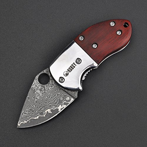 KUBEY KU66 Mini Pocket Knife with VG10 Damascus Steel Blade Rosewood Handle Thumb Open Liner, 1-4/5-Inch Blade(vg-10 damascus steel)