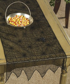 Glittered Spiderweb Table Runner - Serveware