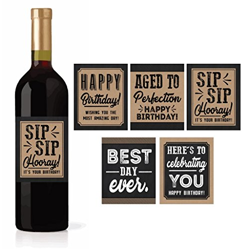5 Birthday Wine or Beer Bottle Labels or Stickers Present, Bday Gifts For Him Men, Any Age Years Funny Unique Old Kraft Rustic Black Cool Party Decoration Centerpiece Supplies For Husband, Dad, Friend ()