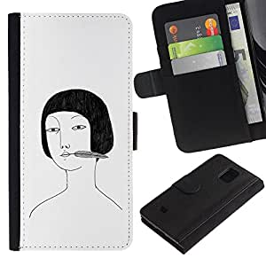 KingStore / Leather Etui en cuir / Samsung Galaxy S5 Mini, SM-G800 / Portrait Dessin Blanc Noir