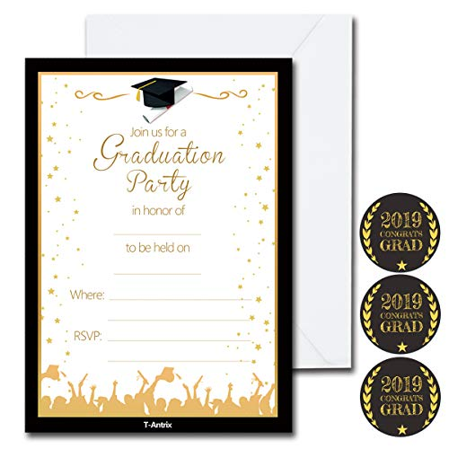 30 Pcs Graduation Party Invitations with 30 Envelopes and 30 Graduation Stickers - 2019 Grad Celebration Announcement Cards for High School or College Graduation Party Supplies