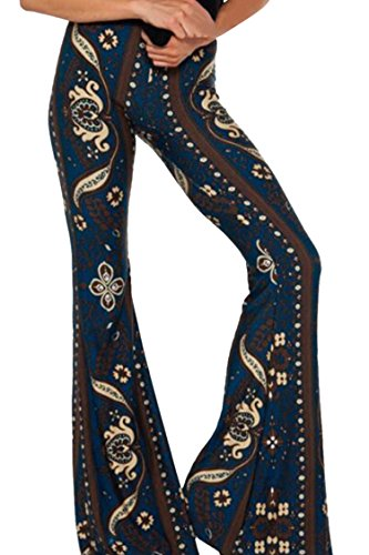 Women's Girls High Waist Printed Skinny Bell-Bottom Pants Leggings Navy Blue S