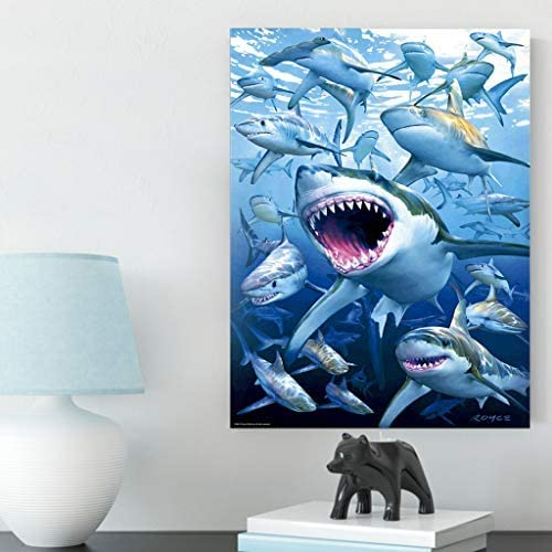 DCIDBEI Rhinestone Diamond Painting,DIY 5D Diamond Painting by Number Kit Cute Shark Rhinestone Embroidery Cross Stitch Kits Supply Arts Craft Canvas Wall Decor Stickers Home Decor30x40cm