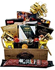 Gourmet Cheese, Meat and Chocolate Gift Basket - Delicatessen - Including Brie Danish Cheese, Handcrafted Salami (varies), 3 Types of Crackers, Cheese Knife, Wafels, Delectable Chocolate from World Renowned Brands and more
