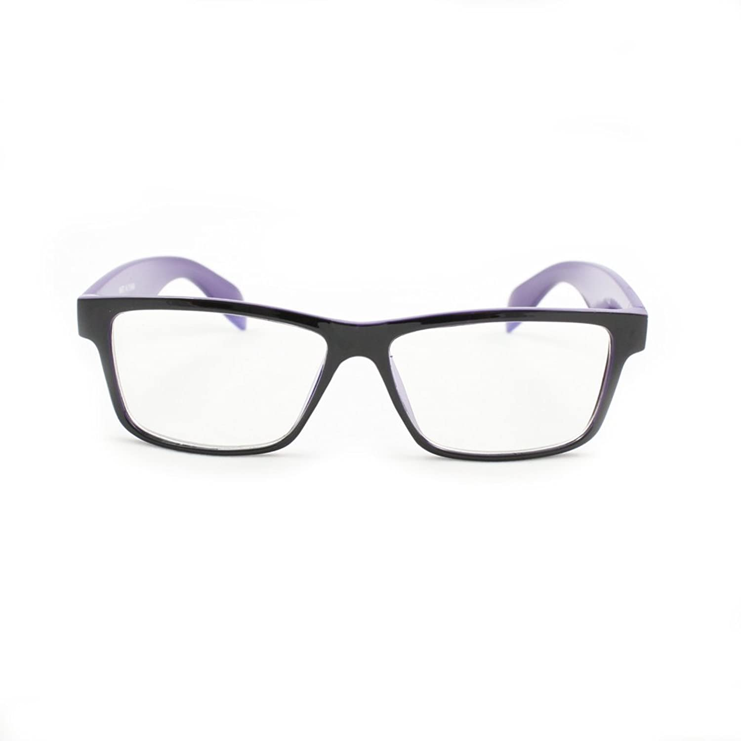 MLC Eyewear Rectangle Fashion Sunglasses P2133 Black with Purple Frame Clear Lens for Women and Men (can be optical frame)